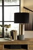 Signature Design Jacek 2 Gray/Brass Metal Table Lamps by Ashley