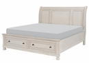 Bethel Antique White Wood Queen Sleigh Bed with Storage by Homelegance