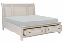 Bethel Antique White Wood King Sleigh Bed with Storage by Homelegance