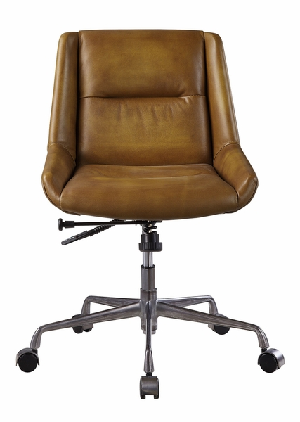 Ambler Saddle Brown Top Grain Leather Executive Office Chair by Acme