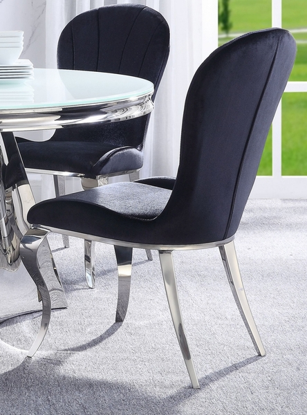 Hiero 2 Black Fabric/Silver Metal Side Chairs by Acme