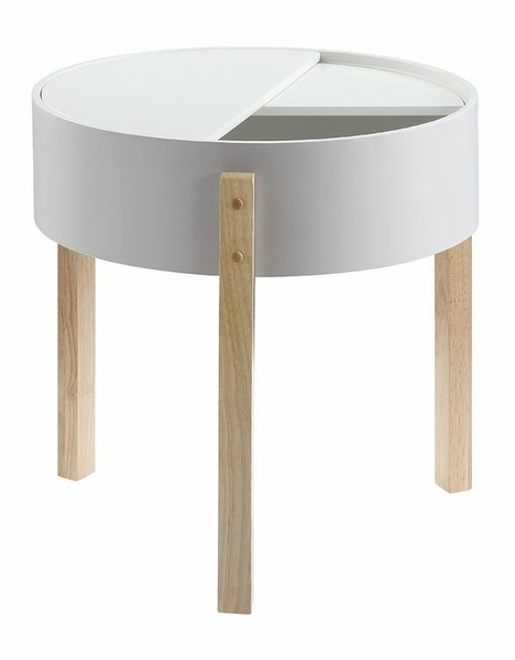 Bodfish White/Natural Wood End Table with Hidden Storage by Acme