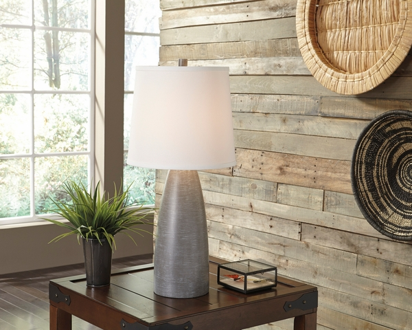 Signature Design Shavontae 2 Gray Poly Table Lamps by Ashley