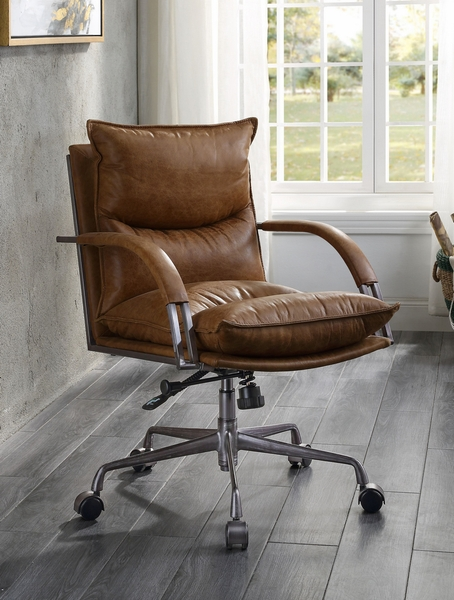 Haggar Coffee Top Grain Leather Executive Office Chair by Acme