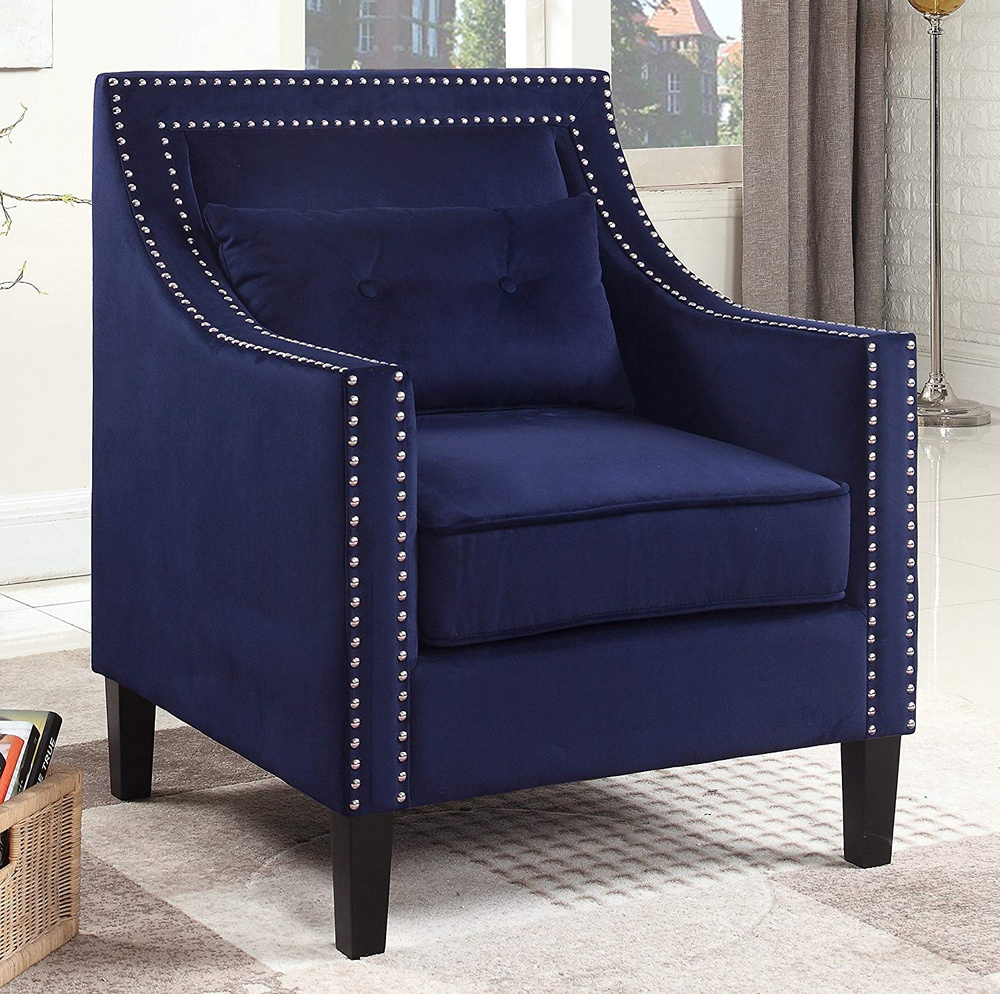 Edinburgh Navy Blue Suede Fabric Accent Chair by Best ...