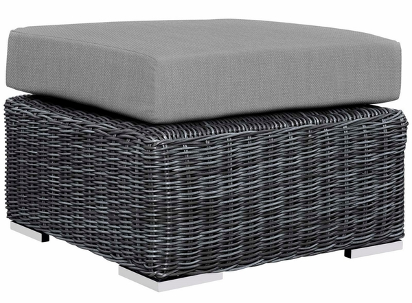 Summon Rattan Ottoman with Canvas Gray Fabric Cushion by Modway