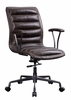 Zooey Distress Chocolate Top Grain Leather Swivel Office Chair by Acme