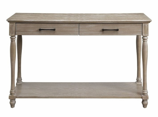 Ariolo Antique White Wood Sofa Table with Bottom Shelf by Acme