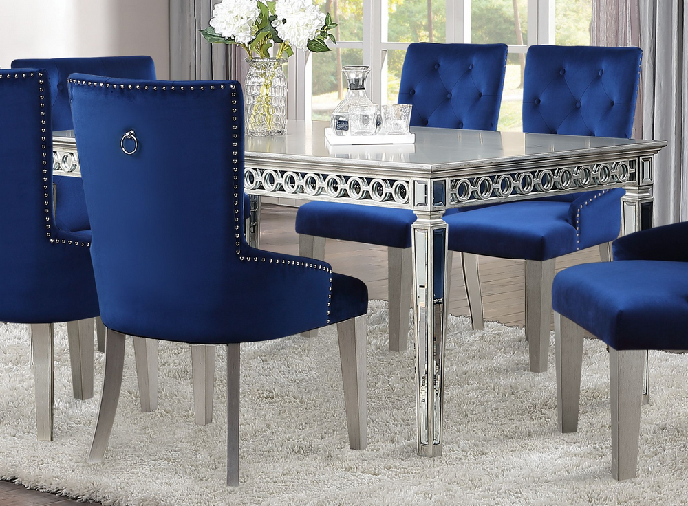 Varian Mirrored Antique Platinum Wood Extendable Dining Table By Acme