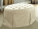 Claes Beige Fabric Ottoman by Furniture of America