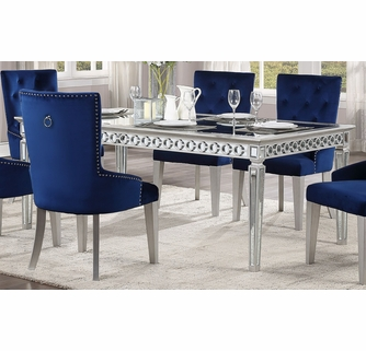 Varian Mirrored Antique Platinum Wood Dining Table Oversized By Acme