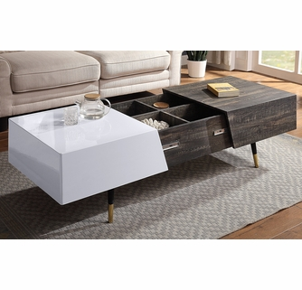 Orion White High Gloss Rustic Oak Wood Coffee Table W Storage By Acme