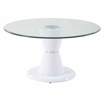 Kavi Clear Glass White High Gloss Wood Round Dining Table By Acme