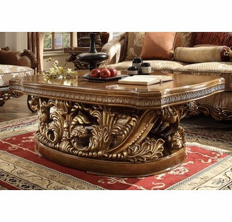 Prune Brown Gold Tone Finish Wood Coffee Table By Homey Design