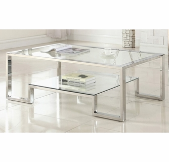 Apolonia Clear Glass Silver Coffee Table By Best Master Furniture