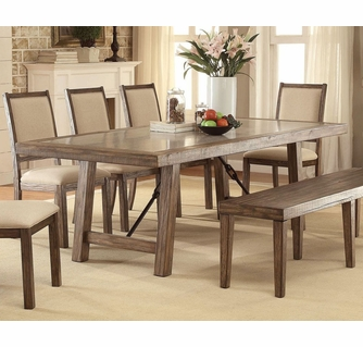 Colette Rustic Oak Dining Table Oversized By Furniture Of America