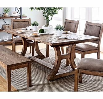 Gianna Rustic Pine Solid Wood Dining Table By Furniture Of America
