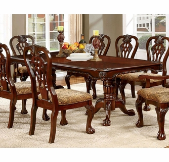 Elana Brown Cherry Wood Dining Table W Leaf By Furniture Of America