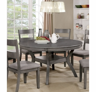 Juniper Gray Wood Round Dining Table By Furniture Of America