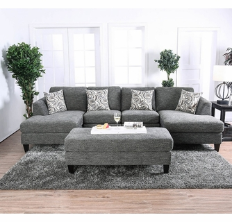 lowry gray chenille sectional sofa w ottoman by furniture of america