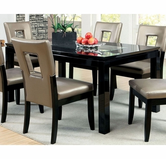 Evant Black Mirror Insert Dining Table By Furniture Of America
