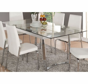 Osias Clear Glass Chrome Metal Rectangular Dining Table By Acme