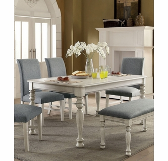 siobhan ii antique white wood dining table by furniture of america