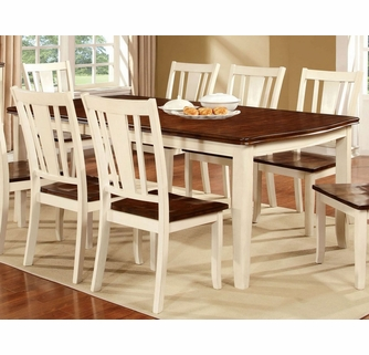 Dover White Cherry Wood Dining Table W Leaf By Furniture Of America