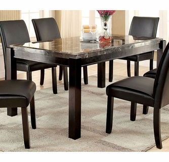 Gladstone Black Dining Table With Marble Top By Furniture Of America