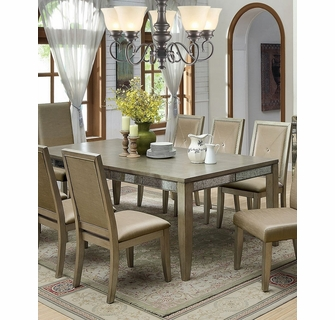 Echo Antique Gold Wood Mirror Dining Table By Furniture Of America