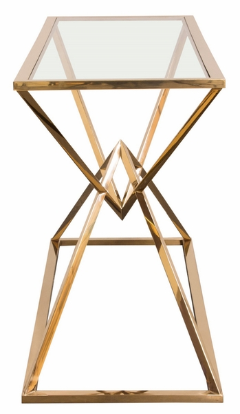 Aria Clear Glass/Gold Finish Metal Console Table by Diamond Sofa