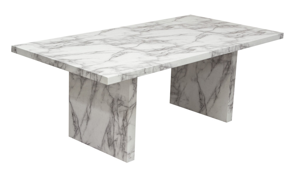 Icon Faux Marble Finish Wood Rectangular Dining Table By Diamond Sofa
