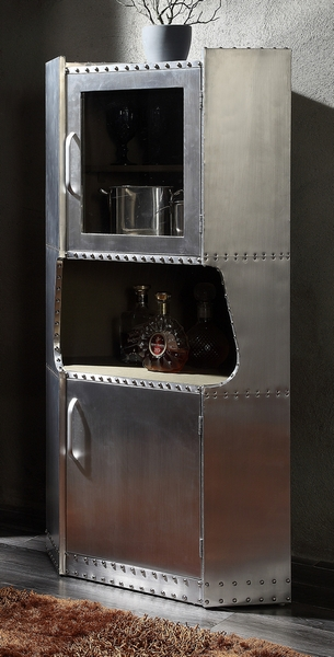 Brancaster Aluminum Cabinet with 2 Doors by Acme
