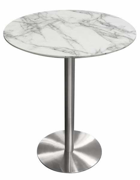 Stella Faux Marble Finish Wood/Silver Metal Bar Table by Diamond Sofa