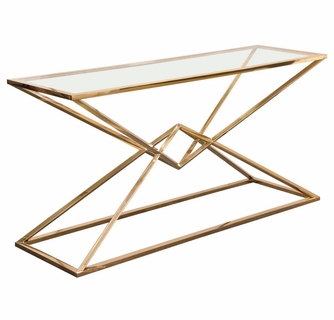 Aria Clear Glass Gold Finish Metal Console Table By Diamond Sofa