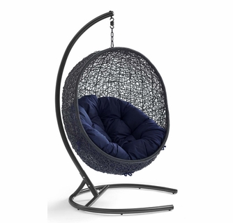 Encase Navy Sunbrella Black Patio Swing