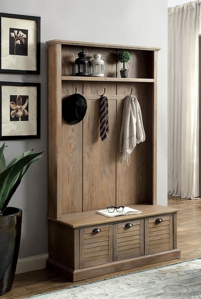 Wineglow Weathered Gray Wood Hallway Cabinet by Furniture of America
