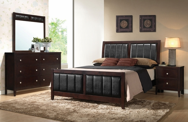 Carlton 4-Pc Cappuccino Wood/Leatherette King Bed Set by Coaster