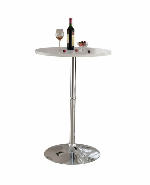 Nessa White Plastic/Chrome Bar Table by Furniture of America