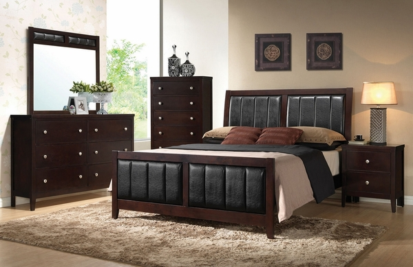 Carlton 5-Pc Cappuccino Wood/Leatherette King Bed Set by Coaster