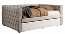 Suzanne Ivory Linen-Like Fabric Full Daybed by Furniture of America