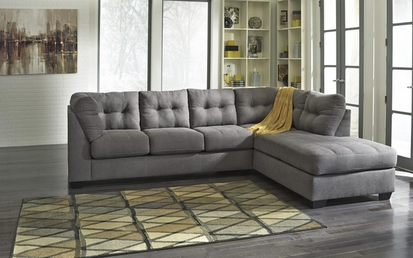 Benchcraft Maier 2-Pc Charcoal RAF Sectional with Sleeper by Ashley