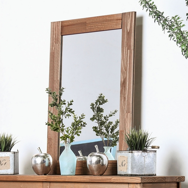 Lea Mahogany Solid Pine Wood Mirror by Furniture of America