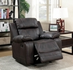Pondera Brown Leatherette Manual Recliner by Furniture of America