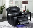 Sirius Black Leatherette Power Recliner by Furniture of America