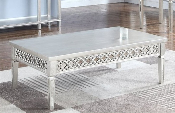 Arienne Silver Mirrored Coffee Table by Best Master Furniture