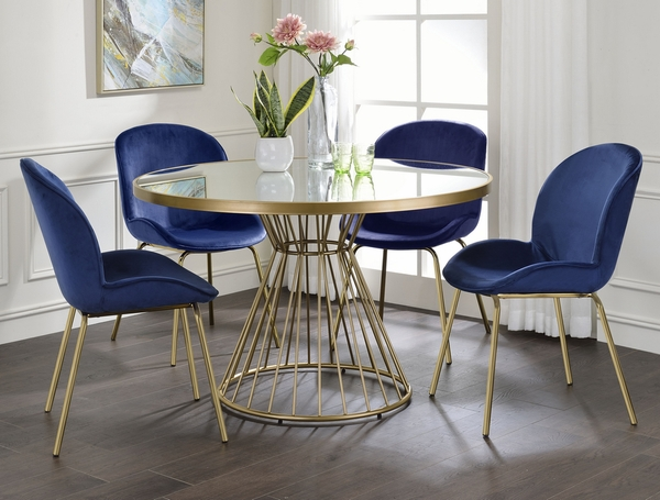 Chuchip 2 Blue Velvet/Gold Metal Side Chairs by Acme