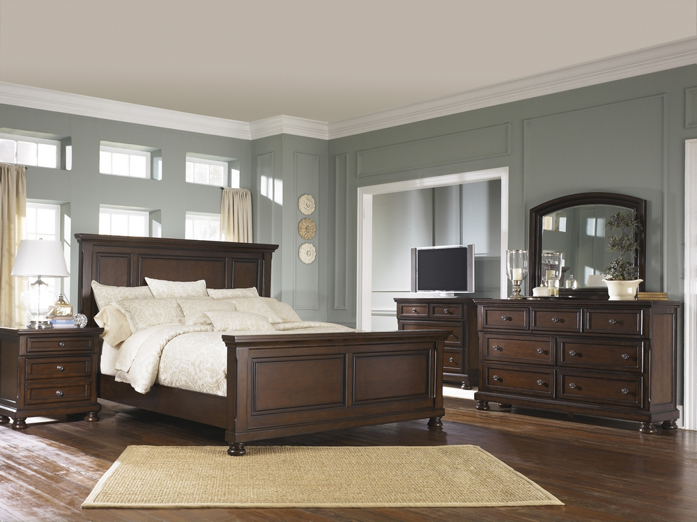 Millennium Porter Rustic Brown Wood 2 Drawer Nightstand By Ashley