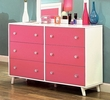 Alivia White/Pink Wood Dresser by Furniture of America