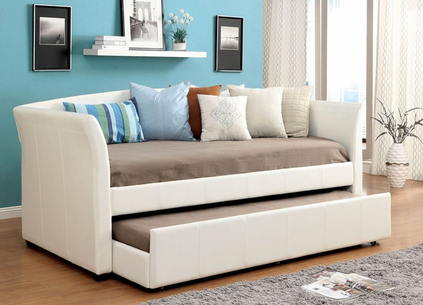 Delmar White Leatherette Twin Daybed by Furniture of America